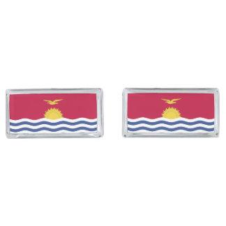 Kiribati Flag Silver Finish Cufflinks