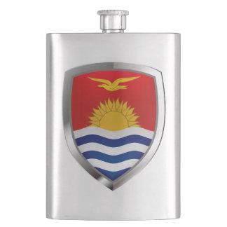 Kiribati Metallic Emblem Hip Flask