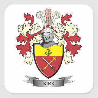 Kirk Family Crest Coat of Arms Square Sticker