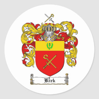 KIRK FAMILY CREST -  KIRK COAT OF ARMS CLASSIC ROUND STICKER