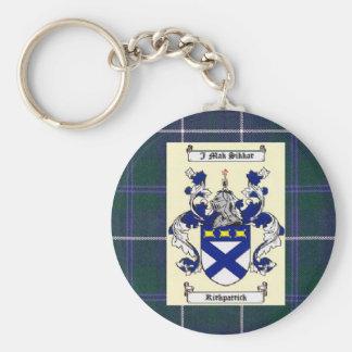 Kirkpatrick Crest on Douglas Blue Tartan Basic Round Button Key Ring