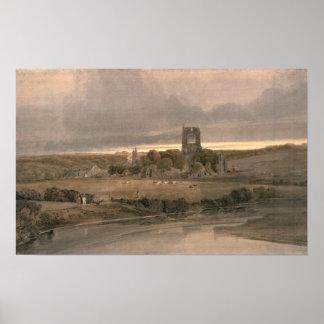 Kirkstall Abbey, Yorkshire - Evening Poster