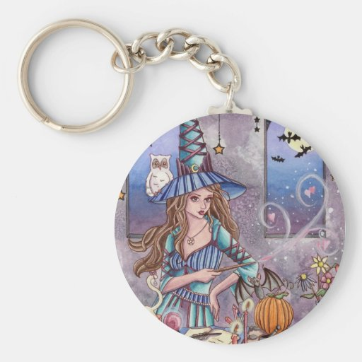 Kirra - Witch and Owl Keychain by Nikki Burnette