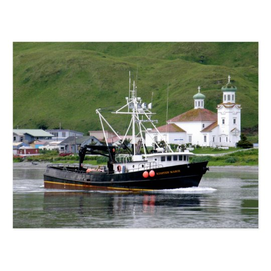 Kirsten Marie passing the City of Unalaska, Alaska Postcard
