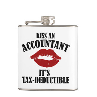 kiss an accountant funny CPA Hip Flask
