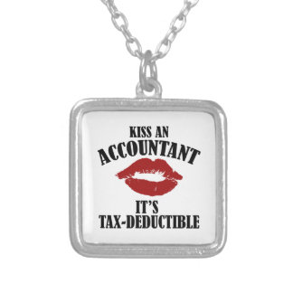kiss an accountant funny CPA Silver Plated Necklace
