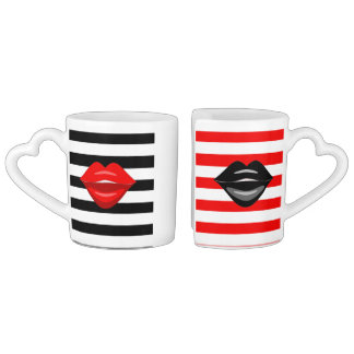 Kiss and make up coffee mug set