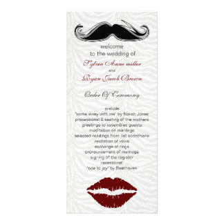 kiss and mustache zebra stripes wedding program rack card