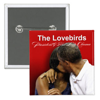 KISS CAM Lovebirds President & First Lady Obama 15 Cm Square Badge
