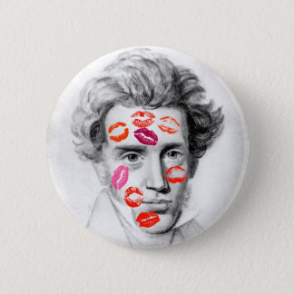"""KISS-COVERED KIERKEGAARD"" 6 CM ROUND BADGE"