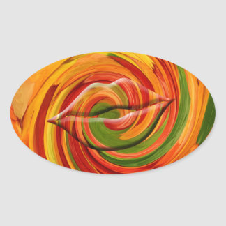 Kiss from fall, abstract oval sticker