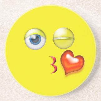 Kiss Heart Emoji Drink Coaster