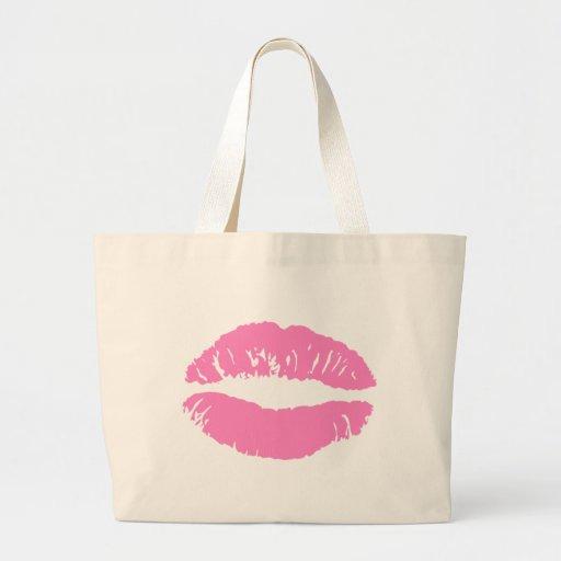 kiss lips lip lipstick canvas bag