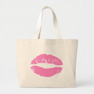 kiss lips lip lipstick jumbo tote bag