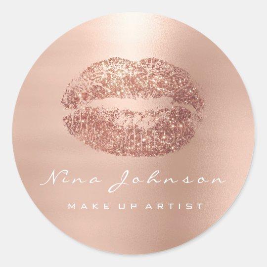 Kiss Lips Makeup Artist Beauty Rose Gold Lipstick Classic Round Sticker