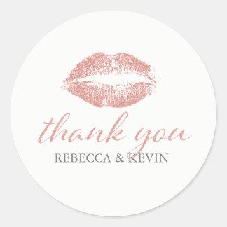 Kiss Lips Rose Gold Glitter Texture Thank You Round Sticker