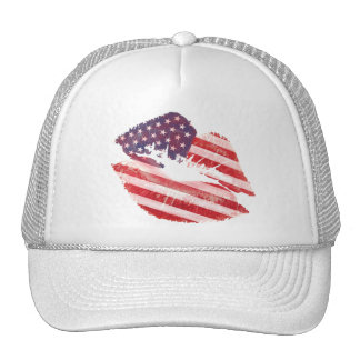 Kiss lips with American flag Cap