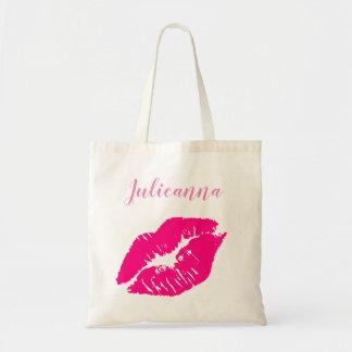 kiss makeup tote bag