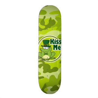 Kiss Me; bright green camo, camouflage Skate Deck