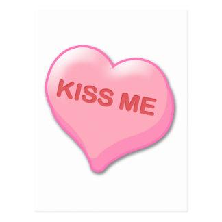 Kiss Me Candy Heart Postcard