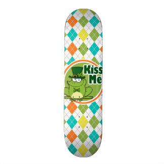 Kiss Me Colorful Argyle Pattern Skate Deck