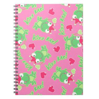 Kiss me frog spiral notebook