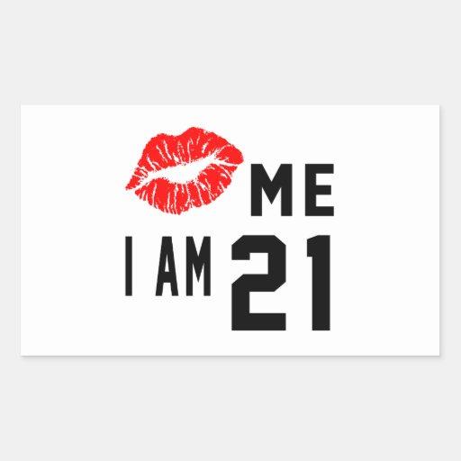 Kiss Me I Am 21 Rectangle Stickers