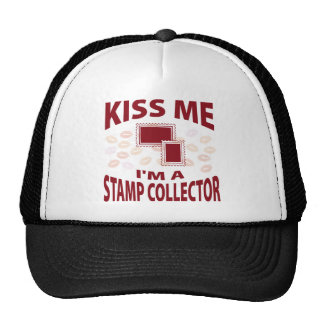 Kiss Me I m A Stamp Collector Mesh Hats