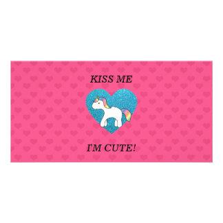 Kiss me I m cute baby unicorn Photo Card