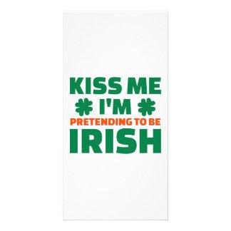 Kiss me I m pretending to be Irish Customized Photo Card