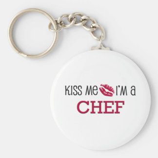 Kiss Me I'm a CHEF Basic Round Button Key Ring