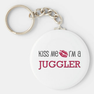 Kiss Me I'm a JUGGLER Basic Round Button Key Ring