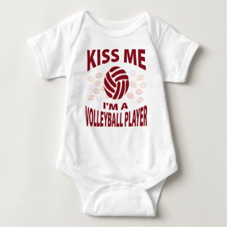 Kiss Me I'm A Volleyball Player Baby Bodysuit