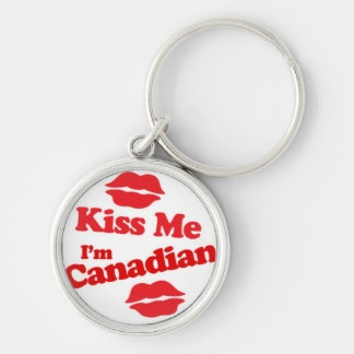 Kiss Me I'm Canadian Silver-Colored Round Key Ring