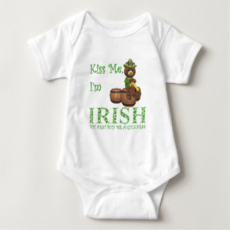 Kiss Me I'm Irish, but First Buy Me A Guinness Baby Bodysuit