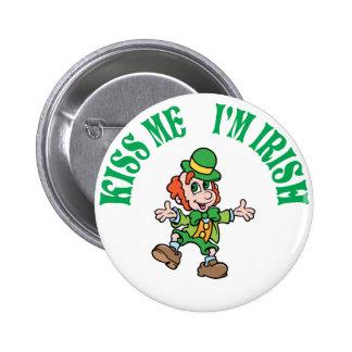 Kiss Me I'm Irish Dancing Leprechaun 6 Cm Round Badge
