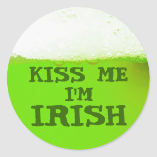Kiss Me I'm Irish Green Beer Sticker