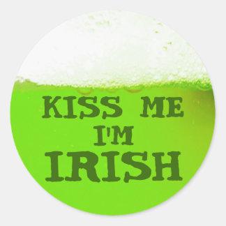 Kiss Me I'm Irish Green Beer Sticker