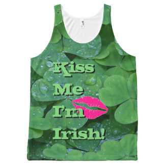 Kiss Me I'm Irish Green Clover Pink Lips Tank Top
