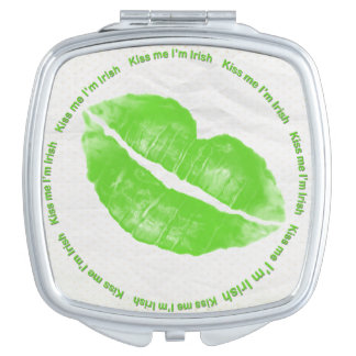 Kiss Me I'm Irish Green Lipstick Makeup Mirrors