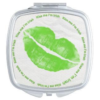 Kiss Me I'm Irish Green Lipstick Travel Mirror