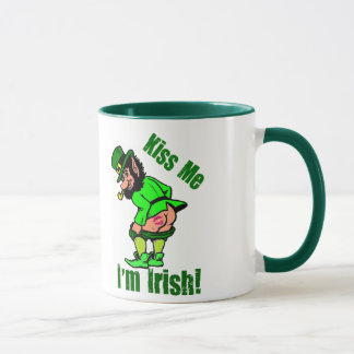 Kiss Me I'm Irish Mooning Leprechaun Mug