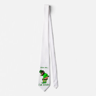 Kiss Me, I'm Irish Mooning Leprechaun Necktie