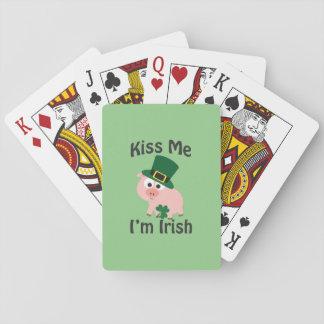 Kiss me I'm Irish Pig Playing Cards