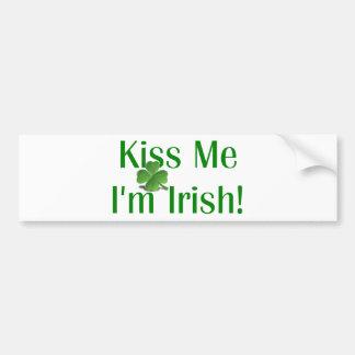 Kiss Me I'm Irish Shamrock Bumper Sticker