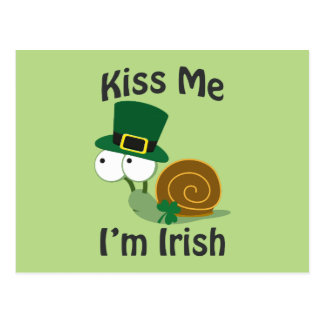 Kiss Me I'm Irish Snail Postcard