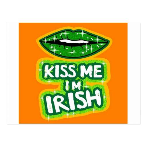 Kiss Me I'm Irish Sparkle Lips Postcard