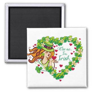 Kiss me, I'm irish! Square Magnet