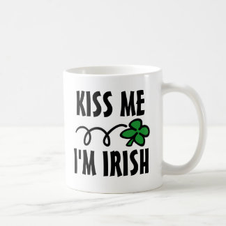 Kiss me I'm Irish St Patricks Day mug with clover
