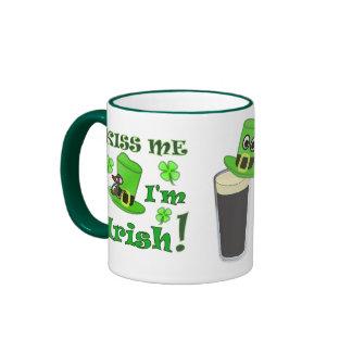 Kiss Me I'm Irish - St Patricks Day Ringer Mug